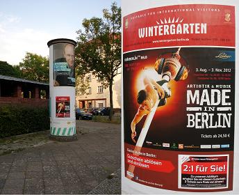 Plakatkampagne Wintergarten, Litfaßsäulenwerbung - Postear (Plakatwerbung)