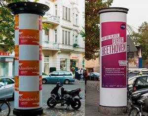 Ganzstellen-Werbung, Ganzsäulen, Litfaßsäule, Plakatwerbung