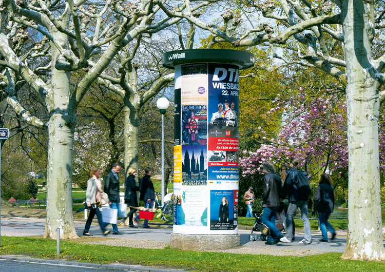 Litfaßsäulenwerbung, Allgemeinstellen, (Wiesbaden), Plakatwerbung