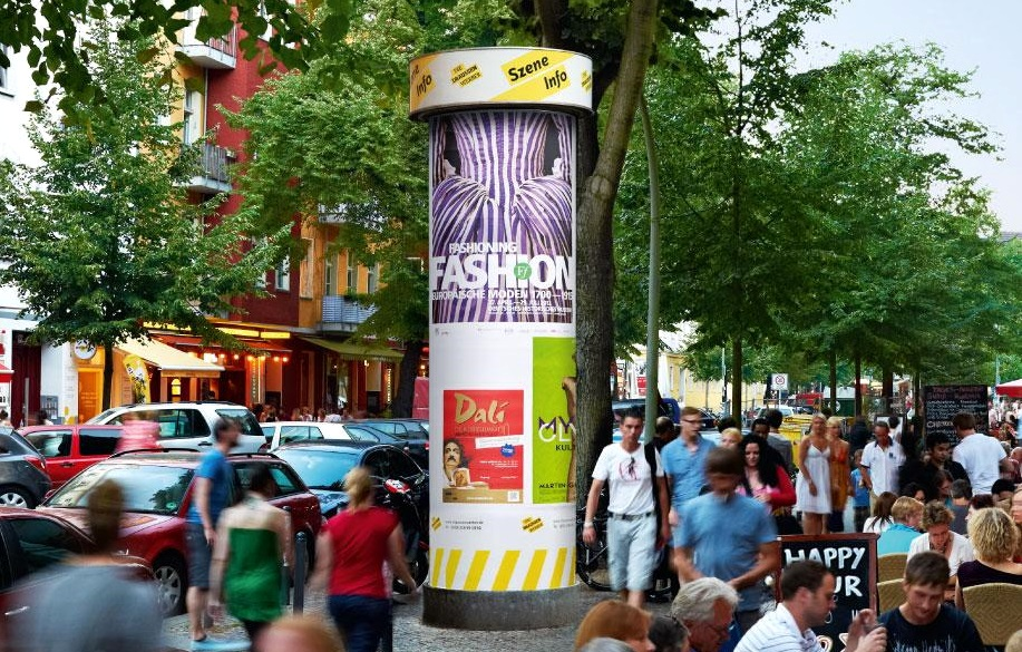 Litfaßsäule, Allgemeinstelle, Szene-Netz, Berlin, Plakatwerbung